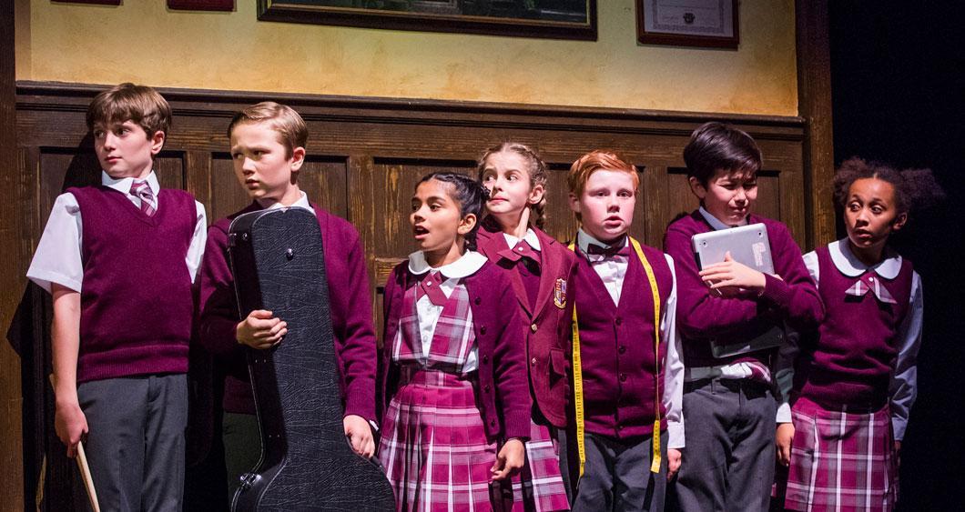 School of Rock Cast in Burgundy School Uniforms