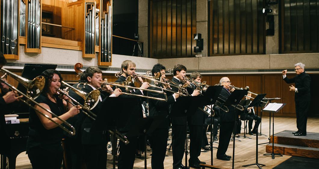 The University of Texas Wind Ensemble performs.