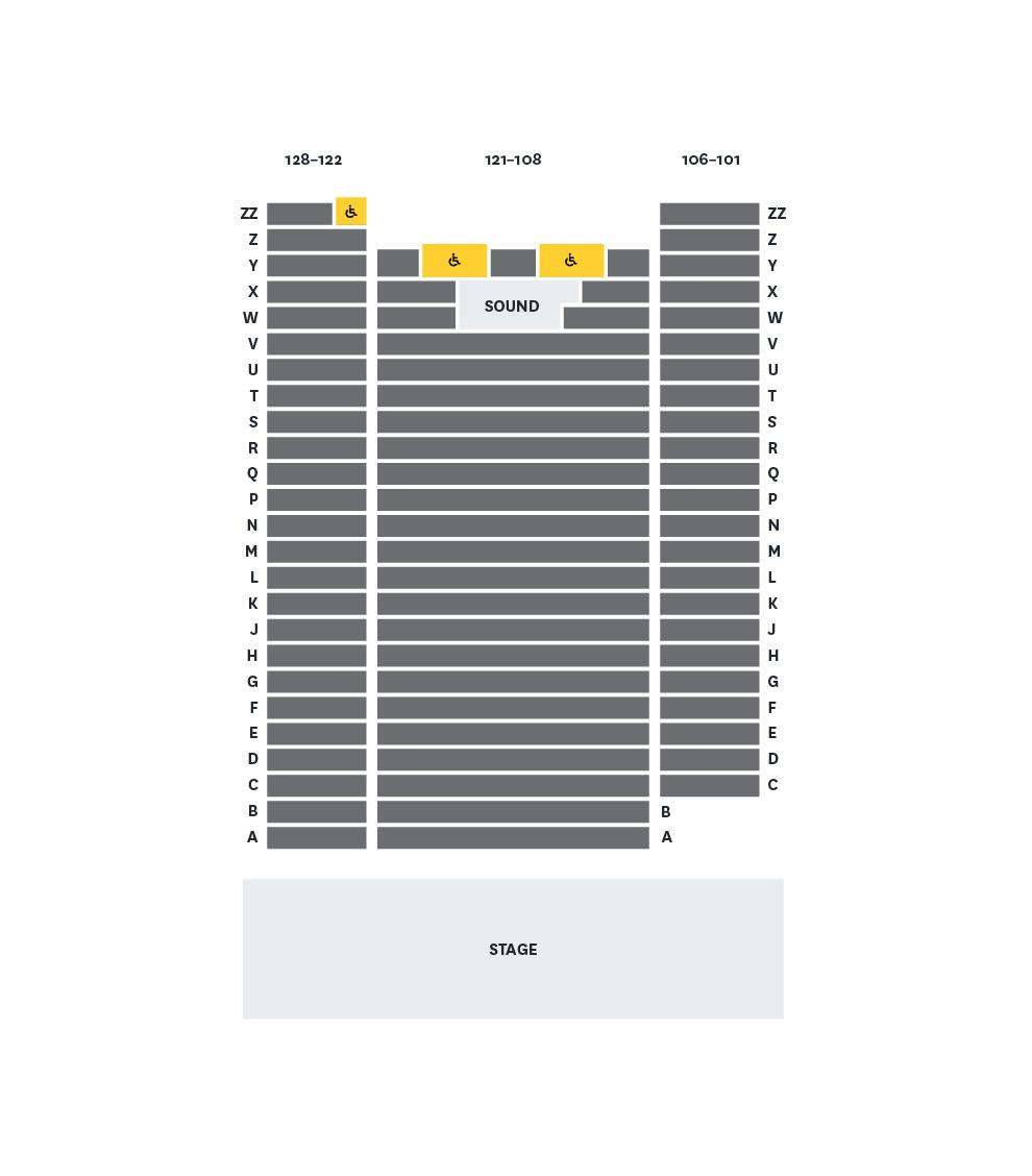 Bates Recital Hall Seating Map