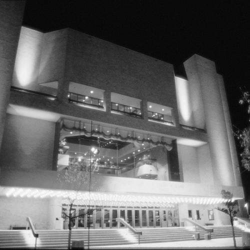 Black and White Image of Bass Concert Hall from the 1980's